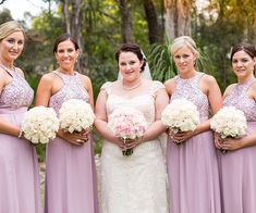 Musk Pink Long Bridesmaid Dress with patterned bodice