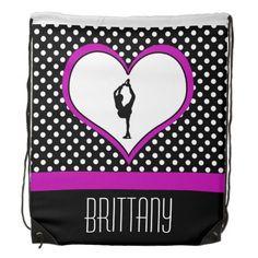 Pink Heart with Classy Polka-Dots Figure Skating Drawstring Bag