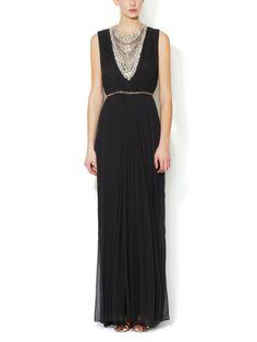 Silk Chiffon Draped Gown with Embellished Yoke