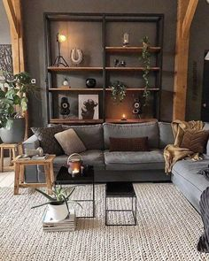 Rustic Living Room Furniture, Home Living Room, Apartment Living, Interior Design Living Room, Living Room Designs, Home Furniture, Rustic Modern Living Room, Rustic Livingroom Ideas, Apartment Ideas