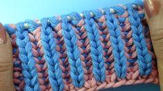 Лучшие узоры вязания Двухцветная английская резинка   Узор вязания спица...