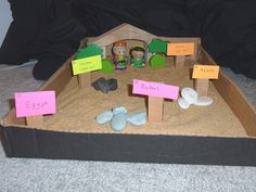 Abraham and Sarah -Godly Play and Young Children and Worship story. We used a big plastic bin, little wooden craft people, and rocks. Easy supplies!