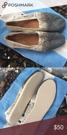 NWT! Gray & Cream Lace Toms! NWT! Gray & Cream Lace Toms! Size 7.5 TOMS Shoes Flats & Loafers