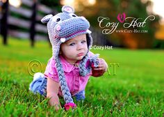 5e228b99ecf Awesome hand crocheted hippie hippo hat is great for a boy or a girl.  Available