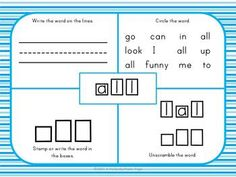 Primer Fours Squares ~ Some kinders will be ready for this list of words and also some first graders will still be working on this list of words. CCSS~ RF.K.3  $ Rhyming Words, Sight Words, Kindergarten Literacy, Literacy Centers, Four Square Writing, Teaching Resources, Teaching Ideas, Abc Phonics, Morning Work
