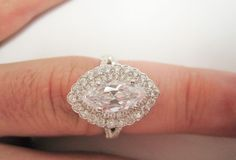 CERTIFIED 2.25 CARAT NATURAL WHITE D COLOR MARQUISE DIAMOND HALO GOLD RING  #SolitairewithAccents