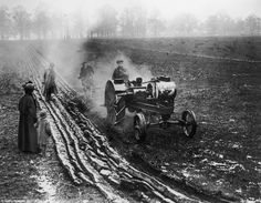 Mechanics: A steam plough in operation in Richmond Park in April 1917. At this time, some ...