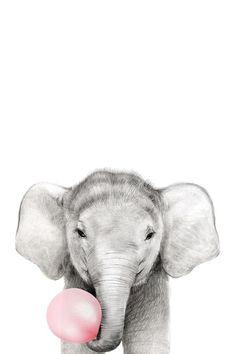 Elephant bubble gum animal canvas print animal bubble canvas elephant gum print max ellis on Tier Wallpaper, Animal Wallpaper, Disney Wallpaper, Elephant Wallpaper, Safari Animals, Cute Baby Animals, Funny Animals, Cute Giraffe, Cute Elephant