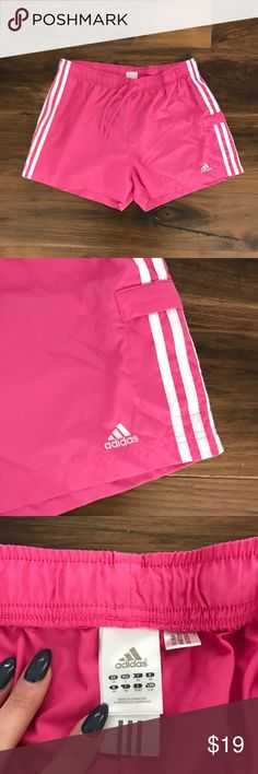 Adidas Bubblegum Pink Pocket Shorts No flaws other than a tiny pub sized hole, see pic by logo. Barely noticeable from the security tag. Smoke free pet friendly. Elastic waist / true to size / make an offer!  ✅ Bigger Bundle = Bigger Discount! ✅ Reasonable Offers Considered! ✅ Posh Compliant Closet 🚫Trades or Lowball Offers adidas Shorts