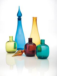 Blenko glassware: decanters and vases, multiple colors available