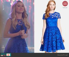 Kitty (and others) blue lace dress on Glee.  Outfit Details: http://wornontv.net/44974/ #Glee