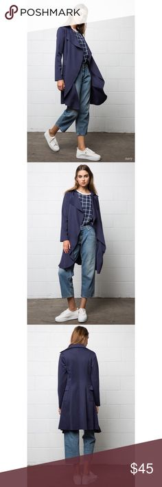 Neoprene Trench Coat Structure neoprene trench coat! Perfect for summer and fall! Lightweight! NAVY Jackets & Coats Trench Coats