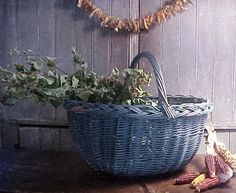 Antique Wicker Large Gathering Basket Primitive Old Original Blue Paint AAFA