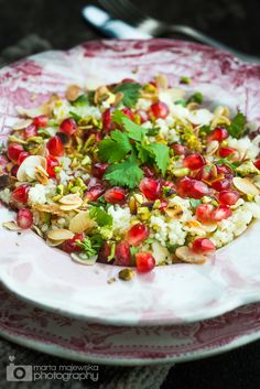 pomegranate pistashio-almond couscous... must make this with quinoa