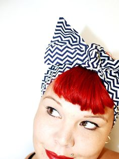 Bow hair tie Chevron Strips Navy Blue Pin up by OhHoneyHush, $12.00
