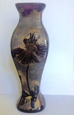 Acid etched Art Nouveau cameo vase manufactured by Baccarat circa 1890.