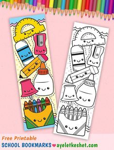 Cute kawaii back to school printables: coloring bookmark. Print these free cute kawaii back to school printables! Water bottle label, coloring book mark, lunch bag labels and adorable notebook stickers. Cute Doodle Art, Doodle Art Designs, Doodle Art Drawing, Kawaii Doodles, Cute Doodles, Kawaii Art, Creative Bookmarks, Diy Bookmarks, Diy Collage