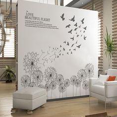 grey dandelion flower wall stickers decals plants wall arts wallpaper mural adesivo de parede home house window decor