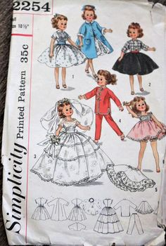 Simplicity sewing pattern #2254 - Doll size #supplies @EtsyMktgTool #vintagepattern #vintagesimplicity #simplicity2254 #1957pattern