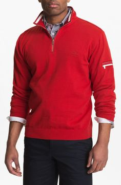 Paul & Shark 'Watershed' Quarter Zip Sweater. Check for more burgundy at http://www.wantering.com/trends/burgundy/