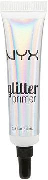 Minimize glitter fallout and keep each and every sparkle in its place with NYX Cosmetics' Glitter Primer. This primer has a light and creamy formula that sets and then holds on tight to NYX Face and Body Glitter for a sparkle-packed look all day long.