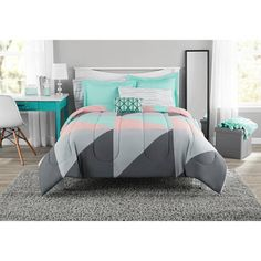 Fun and Bold Mainstays Gray and Teal Bed in a Bag Modern Comforter Set, Geometric Triangle Print with Teal Blue Gray and Pink Coral, Great for Dorms and Kid's Rooms! Modern Comforter Sets, Bed Comforter Sets, Grey Comforter, Teen Girl Bedding, Teen Girl Bedrooms, Dorm Bedding, Teen Girl Bedspreads, Zebra Bedding, Tribal Bedding