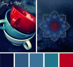 Want an easy color scheme? Try a mostly monochromatic palette with a pop of contrasting color. Watery deep blues go beautifully with bright cherry red in this Berry & Blue color scheme. Try to keep yo Room Colors, House Colors, Paint Colors, Colours, Red Color Schemes, Red Colour Palette, Color Palettes, Blue Palette, Colour Combinations