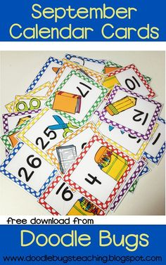 FREE September Calendar Cards!  Plus a link to her TPT shop with cards for each month!