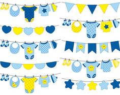 70% OFF SALE Baby Boy Bunting Clipart  Digital Vector