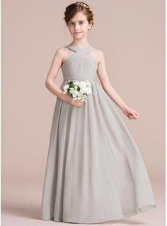 A-Linie/Princess-Linie V-Ausschnitt Bodenlang Chiffon Kleid für junge Brautjungfern mit Rüschen Schleife(n) (009097070)