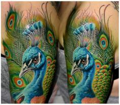 Colorful peacock tattoo by CSABA MÜLLNER
