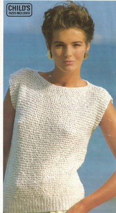 Easy Knitting Pattern Girls / Ladies Top in Garter Stitch Great for beginners in Cotton DK / Worsted / 8 Ply Sizes 26 in cm Knitting Pattern Top Garter Stitch Extra Easy Great for beginners in Cotton DK / Worsted / 8 Ply girls to Ladies sizes Easy Knitting Patterns, Knitting Designs, Free Knitting, Knitting Ideas, Summer Knitting Projects, Knitting Sweaters, Knit Vest Pattern, Top Pattern, Garter Stitch
