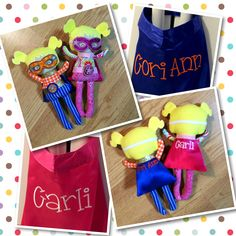 Two super hero girls and matching capes for their new mommies!