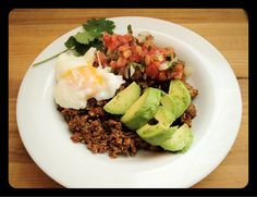No fancy recipe here, just taco beef topped with poached egg, guac, an fresh salsa!