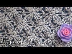 """Рельефный узор крючком """"Бархатные звезды"""". Embossed Velvet Star Crochet Stitch. - YouTube"""