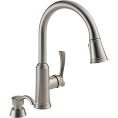 Delta Lakeview Single Handle Pull Down Sprayer Kitchen Faucet In Stainless  With Soap Dispenser