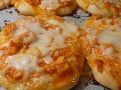 Joyously Domestic: Cheesy Buffalo Chicken Mini Pizzas