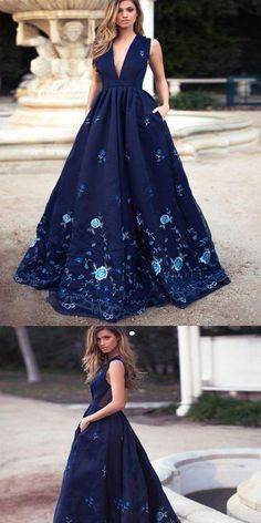Elegant A-Line Deep V-Neck Navy Blue Long Prom Dress with Appliques ,Evening Dresses,Party Dresses,PDY0335#prom dresses#