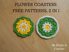 Crochet Daisy/Flower Coaster Design by My Hobby is Crochet