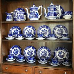 Antique Flow Blue, Tea Service, Plates, Handleless Cups and Saucers