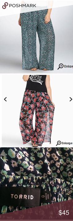 CHIFFON SIDE SLIT WIDE LEG PANTS These Floral pants are super comfy and great for warmer days! The small floral print is flattering while the dark navy shorts sewn in help maintain comfort and modesty ;) ! Worn once, these pants are LIKE NEW! Torrid size 0 fits 12-14 comfortably, as pants have an elastic waist. torrid Pants Wide Leg