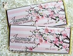 Cherry Blossom Bridal Shower Candy Bar Wrappers - Personalized Wrappers for Chocolate Bars - For Bridal Shower, Baby Shower, Birthday, Sweet 16 (SET OF 12) - Wedding favors (*Amazon Partner-Link)