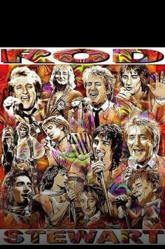 Faces of Rod Off Your Rocker, Penny Lancaster, Todd Rundgren, Rod Stewart, Paper Beads, Psychedelic Art, Hugh Jackman, Concert Posters, I Fall In Love