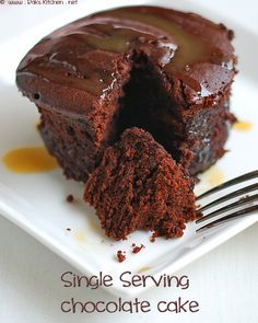Single Serving Microwave Chocolate Cake - This little cake is super easy to make and it's from scratch!  (Much better for me than the cake mix microwave mixes!)