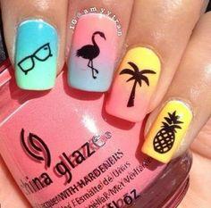 Pretty nail art designs for summer 18 unhas de flamingo, uñas para pl Colorful Nail Designs, Cute Nail Designs, Acrylic Nail Designs, Colorful Nails, Simple Designs, Teen Nail Designs, Pretty Designs, Cute Acrylic Nails, Cute Nails