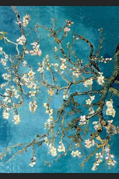 """Almond Blossom 1890 – oil on canvas """"This painting was greatly inspired by Japanese art. It was made as a present for Theo van Gogh and his wife, who had just had a baby. This was the reason van Gogh. Vincent Van Gogh, Art Van, Van Gogh Arte, Van Gogh Pinturas, Art Amour, Van Gogh Almond Blossom, Van Gogh Paintings, Famous Paintings Monet, Van Gogh Drawings"""