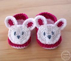 Escarpines Conejitos * Crochet * bebé * tiendadealgodon@gmail.com