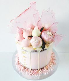 pastel pink cake with sugar shards by Perth baker Marguerite Cakes @margueritecakes