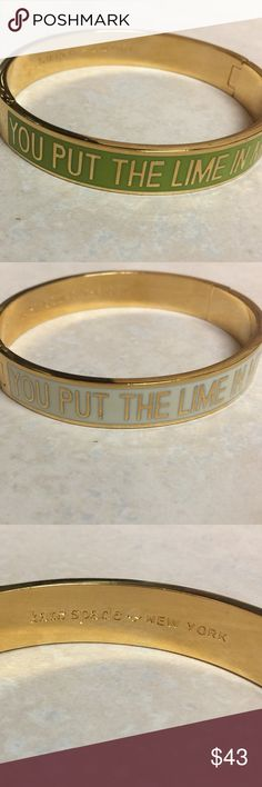 """Kate Spade You Put the Lime in my Coconut Bangle! Kate Spade Hinge Idiom Bangle, green and white with """"You Put the Lime in my Coconut"""" in block gold lettering. Inside engraving has Kate Spade New York on one side, and """"Here Comes the Sun"""" on the other! Great condition! Happy shopping! 🦄🦄 kate spade Jewelry Bracelets"""