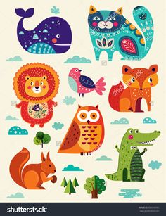 perfect vector set of illustration in cartoon naive style with funny animals and birds. lovely cute animals: lion fox owl bird crocodile squirrel whale and cat. Naive, Funny Animals, Cute Animals, Cute Birds, Cute Illustration, Cartoon Styles, Throw Pillow Covers, Pillow Shams, Squirrel